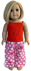 Tank Top & Sleeping Pants-Red and Valentine Hearts