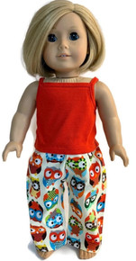 Tank Top &  Sleeping Pants-Red and Curious Owls