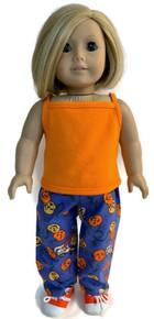 Orange Tank Top and Blue Pumpkin Print Pants