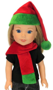 Red and Green Hat and Scarf Set for Wellie Wishers Dolls