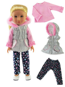 Silver & Pink Puffer Vest, Pink Top, & Floral Print Leggings for Wellie Wishers Dolls