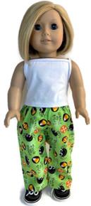 White Tank Top and Green Halloween Print Pants