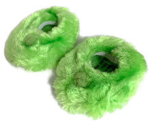 3 pairs of Fuzzy Slippers with Pom Poms-Lime Green