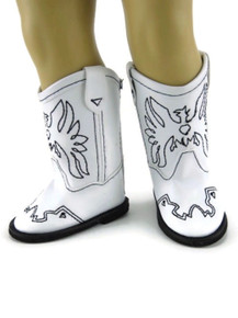 Cowboy Boots-White with Embroidered Eagle Accent