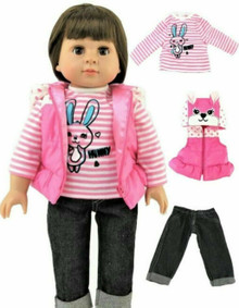 Bunny Puffer Vest, Striped Top, & Jeans