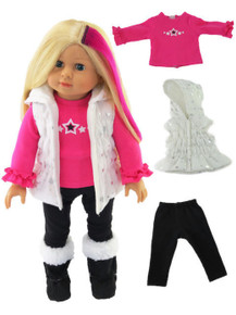 White Puffer Vest with Stars, Pink Top, & Black Leggings