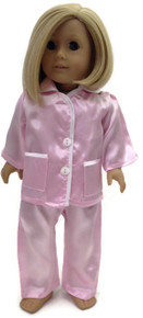 Satin Pajamas-Pink with White Trim