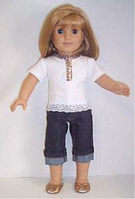 "White Collared Top /& Denim Rolled Hem Capris for 18/"" American Girl Doll Clothes"