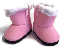 Boots with Faux Fur Trim-Pink