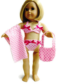 Bikini, Bag, & Blanket-Pink Polka Dot