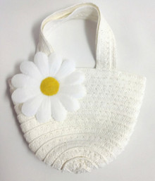 Straw Bag-White with Daisy Accent
