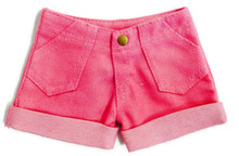 Denim Cuffed Shorts-Pink