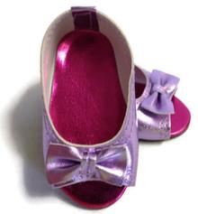 Peep Hole Sandals-Metallic Lavender
