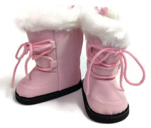 Suede Boots with White Faux Fur Trim