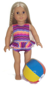 Ruffled Swimsuit & Beach Ball-Purple Zig Zag