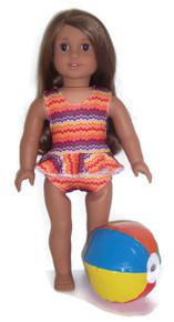 Ruffled Swimsuit & Beach Ball-Orange Zig Zag
