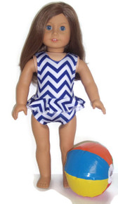Ruffled Swimsuit & Beach Ball-Blue and White Zig Zag