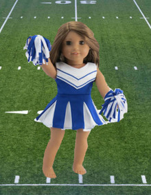 Cheerleader-Blue & White Dress with Panties & Pom Poms