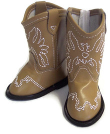 Cowboy Boots-Tan with Embroidered Eagle Accent
