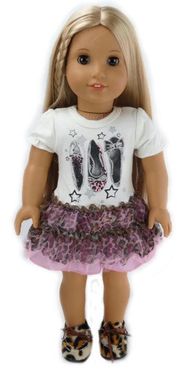 55fbdd064a26 Shoe   Leopard Print Knit and Tulle Dress - Dori s Doll Boutique