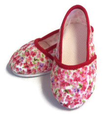 Canvas Slip On Shoes-Pink Floral with Red Piping Trim
