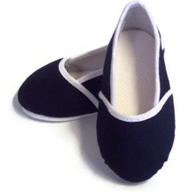 Slip On Shoes-Navy with White Piping Trim