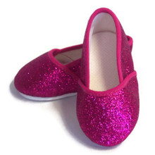 Glitter Slip On Shoes-Fuchsia Pink