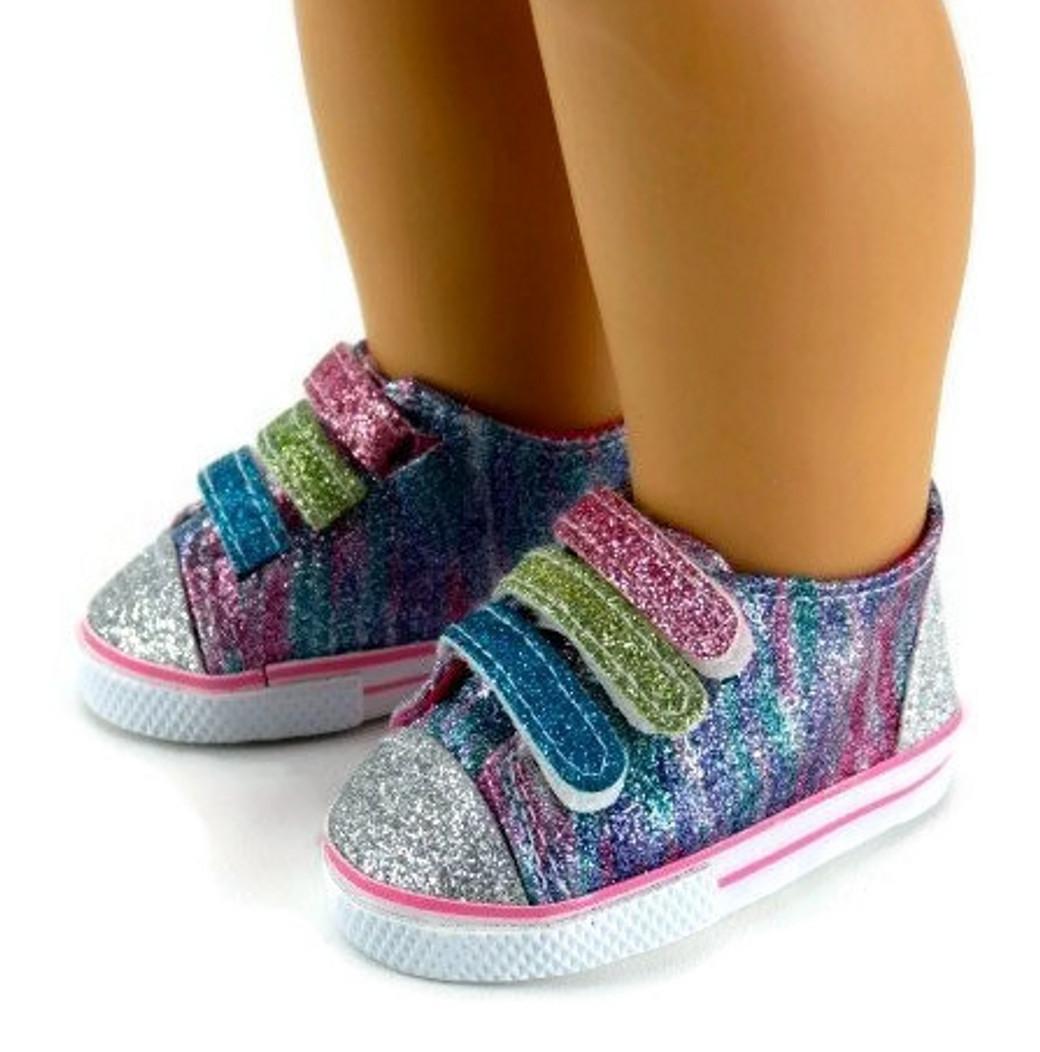 ea7b8148a80e Rainbow Glitter Tennis Sneaker Shoes - Dori's Doll Boutique