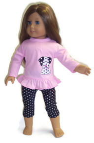 Pink Dalmatian Top & Polka Dot Leggings