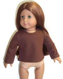 Long Sleeved Knit Shirt-Brown