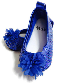 Sequined Flats with Flower-Royal Blue