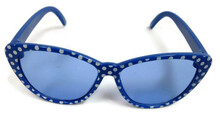 Sunglasses-Blue with White Polka Dots
