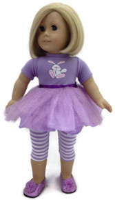 Easter Bunny Tutu Dress & Striped Leggings-Lavender
