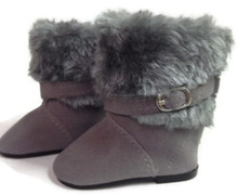 Buckle & Fur Boot-Gray