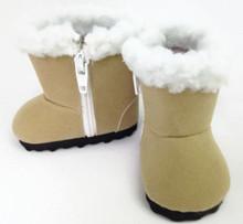 Boots with Faux Fur Trim-Beige