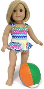 Ruffled Swimsuit & Beach Ball-Colorful Print