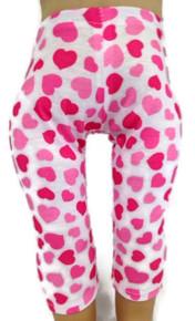 Pink Heart Print Knit Leggings