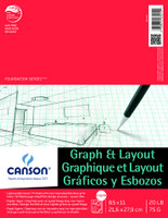 "Canson - Graph & Layout Tape Top 8/8 Grid - 8.5""x11"" - 40 Sheets - 20LB"