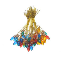 Ornaments - Plastic - Bulb - Assorted Transparent Colors - 8mm - 50 pieces