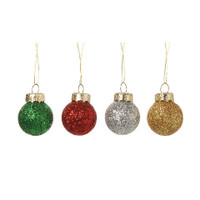 Miniature - Glitter Ball Ornament - Multi Colored - 20mm - 8 pieces