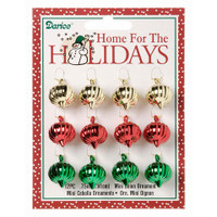 Ornament - Mini Onion Shape - Assorted Colors - 3/4 inch - 12 pieces