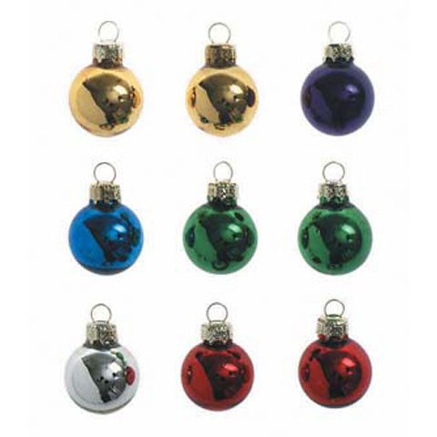 Glass Ball Ornaments Metallic Assorted Colors 25mm 9 Pieces