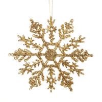 Snowflake - Glittered Gold - 4 inches - 12 pieces