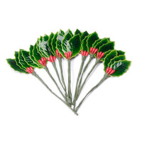 3 Holly Leaves Green with 3 Berries Red - Lacquered - 1-1/2 inches - 10 pieces