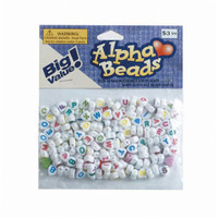 Alphabet Beads - Heart - White with Colored Letters - 6mm - Big Value