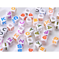 Alphabet Beads - Cube - White with Colored Letters - 6mm - Big Value