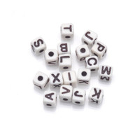 Acrylic Alphabet Beads - Cube - White with Black Letters - 5mm