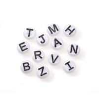 Acrylic Alphabet Beads - Round - White with Black Letters - 10mm