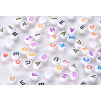 Acrylic Alphabet Beads - Round - White with Colored Letters - 7mm - Big Value
