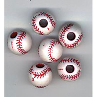 Team Sport Beads - Acrylic - Baseball - Red and White - 12mm